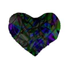 Colorful Abstract Stained Glass G301 Standard 16  Premium Flano Heart Shape Cushions
