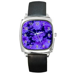 Phenomenal Blossoms Blue Square Metal Watches
