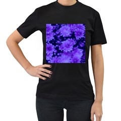 Phenomenal Blossoms Blue Women s T-Shirt (Black) (Two Sided)