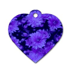 Phenomenal Blossoms Blue Dog Tag Heart (Two Sides)