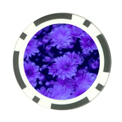Phenomenal Blossoms Blue Poker Chip Card Guards
