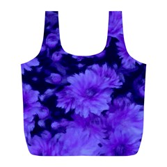 Phenomenal Blossoms Blue Full Print Recycle Bags (l)