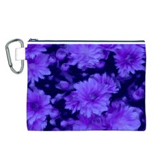 Phenomenal Blossoms Blue Canvas Cosmetic Bag (l)