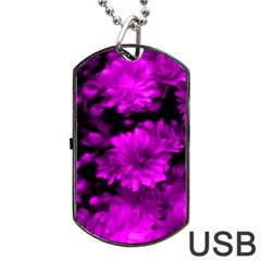 Phenomenal Blossoms Hot  Pink Dog Tag USB Flash (Two Sides)