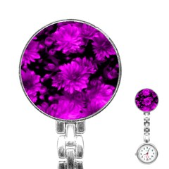 Phenomenal Blossoms Hot  Pink Stainless Steel Nurses Watches