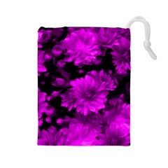 Phenomenal Blossoms Hot  Pink Drawstring Pouches (Large)
