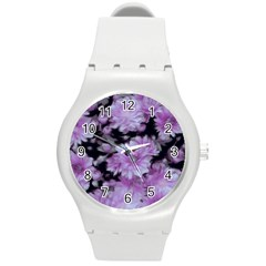 Phenomenal Blossoms Lilac Round Plastic Sport Watch (M)