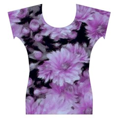 Phenomenal Blossoms Lilac Women s Cap Sleeve Top