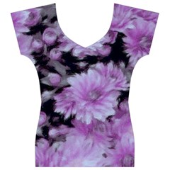 Phenomenal Blossoms Lilac Women s V-Neck Cap Sleeve Top