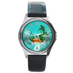 Surfboard With Palm And Flowers Round Metal Watches