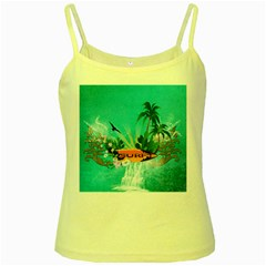 Surfboard With Palm And Flowers Yellow Spaghetti Tanks