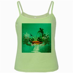 Surfboard With Palm And Flowers Green Spaghetti Tanks