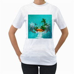 Surfboard With Palm And Flowers Women s T Shirt (white) (two Sided)