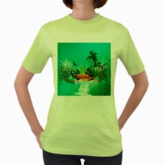 Surfboard With Palm And Flowers Women s Green T Shirt