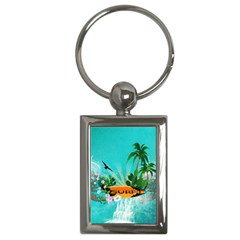 Surfboard With Palm And Flowers Key Chains (Rectangle)