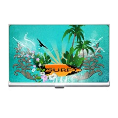Surfboard With Palm And Flowers Business Card Holders