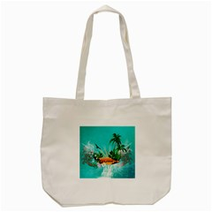 Surfboard With Palm And Flowers Tote Bag (Cream)