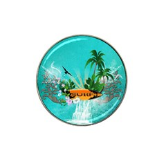 Surfboard With Palm And Flowers Hat Clip Ball Marker (10 pack)