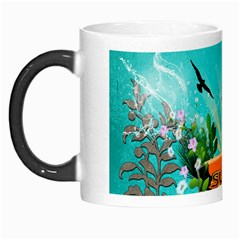 Surfboard With Palm And Flowers Morph Mugs