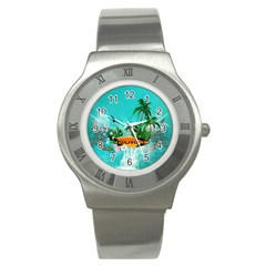 Surfboard With Palm And Flowers Stainless Steel Watches