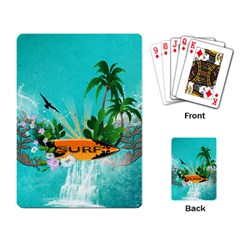 Surfboard With Palm And Flowers Playing Card