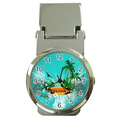 Surfboard With Palm And Flowers Money Clip Watches
