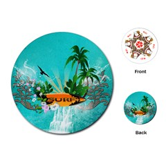 Surfboard With Palm And Flowers Playing Cards (Round)
