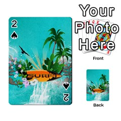 Surfboard With Palm And Flowers Playing Cards 54 Designs