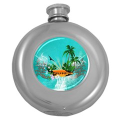Surfboard With Palm And Flowers Round Hip Flask (5 Oz)