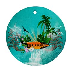 Surfboard With Palm And Flowers Round Ornament (Two Sides)