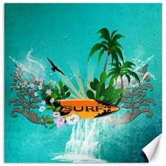 Surfboard With Palm And Flowers Canvas 12  x 12