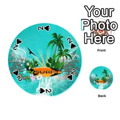 Surfboard With Palm And Flowers Playing Cards 54 (Round)