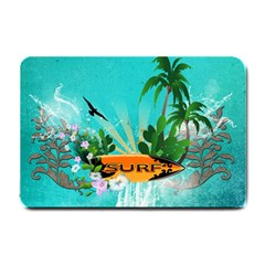 Surfboard With Palm And Flowers Small Doormat