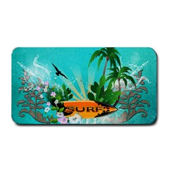 Surfboard With Palm And Flowers Medium Bar Mats