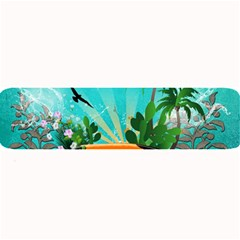 Surfboard With Palm And Flowers Large Bar Mats