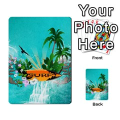 Surfboard With Palm And Flowers Multi Purpose Cards (rectangle)