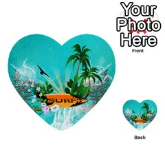 Surfboard With Palm And Flowers Multi-purpose Cards (Heart)
