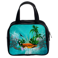 Surfboard With Palm And Flowers Classic Handbags (2 Sides)
