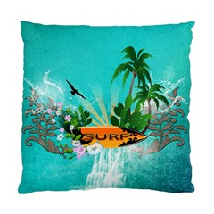 Surfboard With Palm And Flowers Standard Cushion Case (One Side)