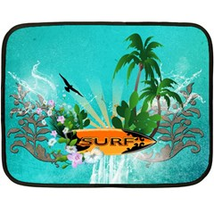 Surfboard With Palm And Flowers Fleece Blanket (Mini)