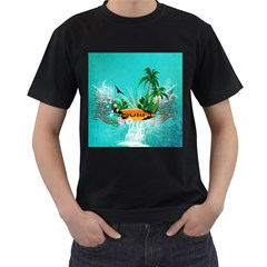 Surfboard With Palm And Flowers Men s T-Shirt (Black)