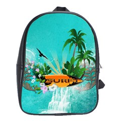 Surfboard With Palm And Flowers School Bags(Large)