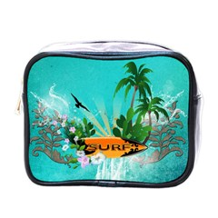Surfboard With Palm And Flowers Mini Toiletries Bags