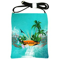 Surfboard With Palm And Flowers Shoulder Sling Bags