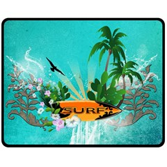 Surfboard With Palm And Flowers Fleece Blanket (medium)
