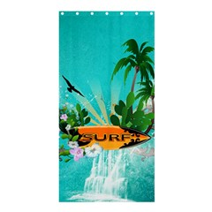 Surfboard With Palm And Flowers Shower Curtain 36  X 72  (stall)