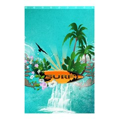 Surfboard With Palm And Flowers Shower Curtain 48  x 72  (Small)