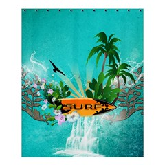 Surfboard With Palm And Flowers Shower Curtain 60  x 72  (Medium)