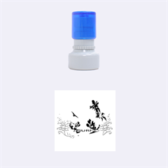 Surfboard With Palm And Flowers Rubber Round Stamps (Small)