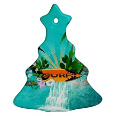 Surfboard With Palm And Flowers Ornament (christmas Tree)